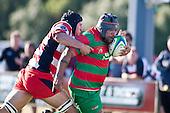 Nicholas Denz reaches to try and stop Maka Tatafu's run towards the tryline. Counties Manukau Premier Club Rugby game bewtween Waiuk & Karaka played at Waiuku on Saturday April 11th, 2010..Karaka won the game 24 - 22 after leading 21 - 9 at halftime.