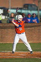 Tyler Dombek (21) of the Glenn Bobcats at bat against the Mallard Creek Mavericks at Dale Ijames Stadium on March 22, 2017 in Kernersville, North Carolina.  The Bobcats defeated the Mavericks 12-2 in 5 innings.  (Brian Westerholt/Four Seam Images)