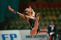 "Daria Kushnerova of Ukraine split leaps at 2008 World Cup Kiev, ""Deriugina Cup"" in Kiev, Ukraine on March 22, 2008."