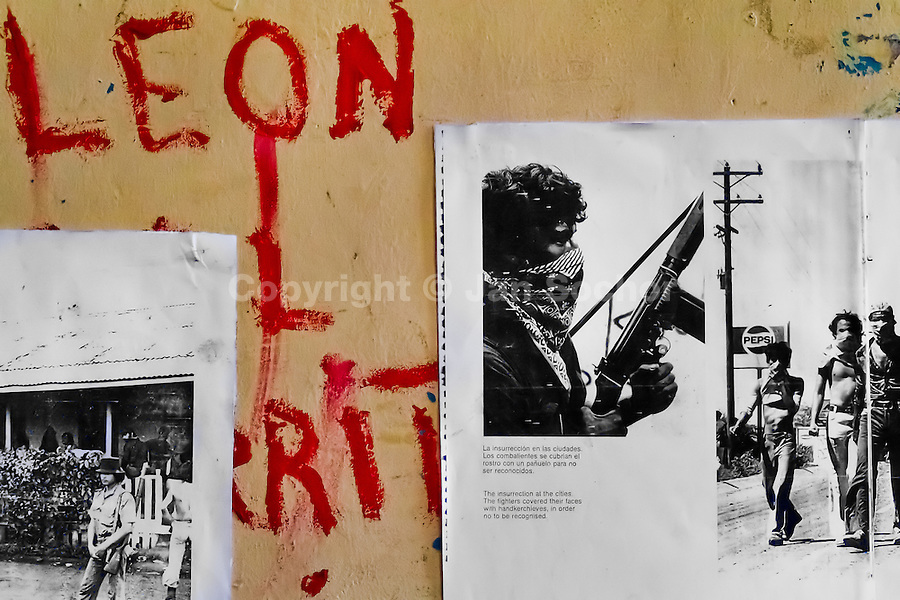 A revolutionary writing together with historical photos displayed on the wall of the Sandinista museum in Leon, Nicaragua, 12 November 2004. The Sandinista National Liberation Front (in Spanish: Frente Sandinista de Liberación Nacional, or FSLN) is a socialist political party in Nicaragua. The FSLN is one of Nicaragua's two leading parties. Sandinistas took their name from Augusto César Sandino (1895-1934), the historical leader of Nicaragua's nationalist rebellion against the US occupation of the country in the 1930s. In 1979 the FSLN overthrew the Somoza dynasty and ruled Nicaragua from 1979 to 1990. They left power in 1990 after free elections. In 2006, the former President Daniel Ortega, the leader of the party, was re-elected President of Nicaragua.
