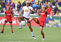 Portland, Oregon - Sunday October 2, 2016: Western New York Flash forward Jessica McDonald (14) and Portland Thorns FC midfielder Tobin Heath (17) during a semi final match of the National Women's Soccer League (NWSL) at Providence Park.