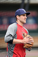 Harrisburg Senators pitcher Neil Holland (25) during practice before a game against the New Britain Rock Cats on April 28, 2014 at Metro Bank Park in Harrisburg, Pennsylvania.  Harrisburg defeated New Britain 9-0.  (Mike Janes/Four Seam Images)