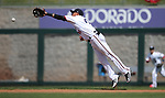 Reno Aces' Ildemaro Vargas dives for a hit in a game against the Fresno Grizzlies in Reno, Nev., on Monday, April 9, 2018. <br /> Photo by Cathleen Allison/Nevada Momentum