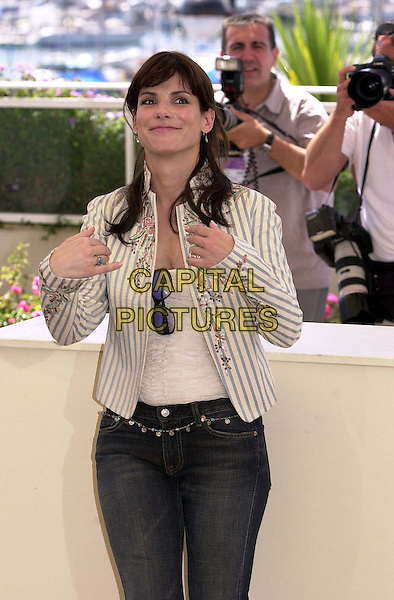 "SANDRA BULLOCK..Cannes Film Festival, France. Photocall for ""Irreversible""..half length, half-length, striped blazer, funny face..www.capitalpictures.com..sales@capitalpictures.com..©Capital Pictures"