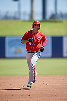 Washington Nationals KJ Harrison (4) rounds the bases after hitting a home run during an Instructional League game against the Miami Marlins on September 26, 2019 at FITTEAM Ballpark of The Palm Beaches in Palm Beach, Florida.  (Mike Janes/Four Seam Images)