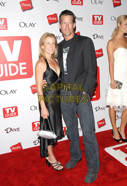 ERIN & JAMES DENTON.The 4th Annual TV Guide Post Emmy Party held at Social in Hollywood, California, USA..August 27th, 2006.Ref: DVS.full length grey gray dress  suit jacket married husband wife jeans denim .www.capitalpictures.com.sales@capitalpictures.com.©Debbie VanStory/Capital Pictures