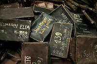 Suitcases taken from people sent to the Auschwitz Nazi concentration camp, now part of the museum at the site. It is estimated that between 1.1 and 1.5 million Jews, Poles, gypsies and others were killed here in the Holocaust between 1940-1945.