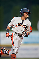 Aberdeen IronBirds designated hitter Alexis Torres (35) rounds the bases after hitting a home run in the top of the first inning during a game against the Tri-City ValleyCats on August 27, 2018 at Joseph L. Bruno Stadium in Troy, New York.  Aberdeen defeated Tri-City 11-5.  (Mike Janes/Four Seam Images)