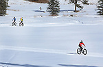 DEADWOOD, SD - JANUARY 23, 2016 -- Riders in the fat-tire biek event make the final turns on the way to the clubhouse during the 2016 Snow Jam Points Series at Tomahawk Country Club south of Deadwood, S.D. Saturday. (Photo by Richard Carlson/dakotapress.org)