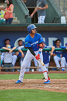 Ramon Rodriguez (7) of the Ogden Raptors at bat against the Grand Junction Rockies at Lindquist Field on July 23, 2019 in Ogden, Utah. The Raptors defeated the Rockies 11-4. (Stephen Smith/Four Seam Images)