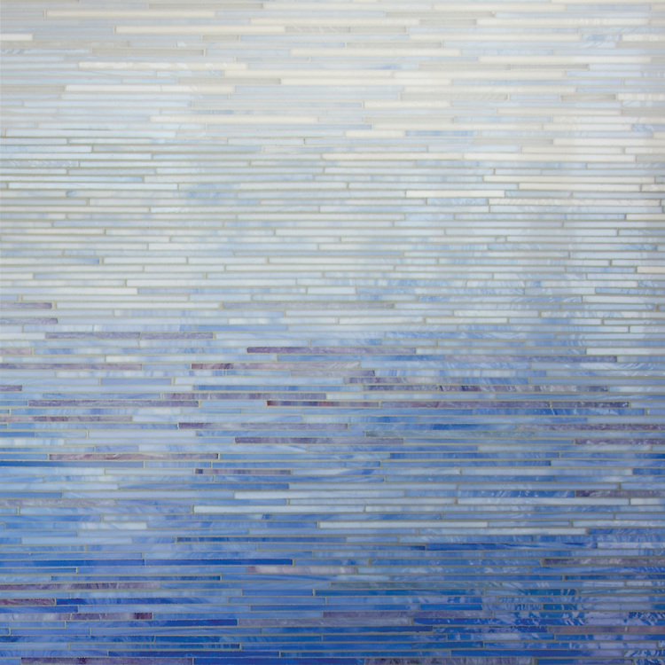 Ombre Tatami, a hand-cut jewel glass mosaic shown in multiple shades of jewel glass, is part of the Broad Street™ collection by New Ravenna.