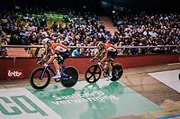 Jasper de Buyst (BEL/Lotto-Soudal) & Tosh Van der Sande (BEL/Lotto-Soudal) going for the fastest lap<br /> <br /> zesdaagse Gent 2019 - 2019 Ghent 6 (BEL)<br /> day 2<br /> <br /> ©kramon