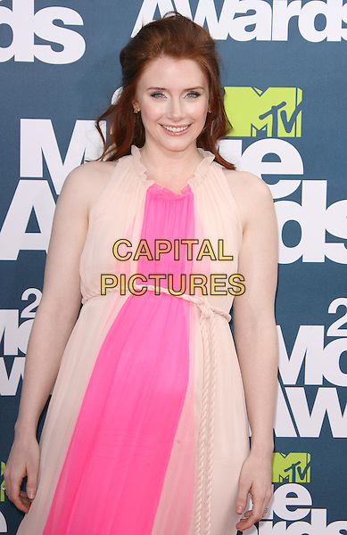 Bryce Dallas Howard .2011 MTV Movie Awards held at Gibson Ampitheatre in Universal City, California, USA..June 5th, 2011.half length sleeveless beige pink sleeveless dress maternity pregnant rope belt .CAP/RKE/DVS.©DVS/RockinExposures/Capital Pictures.