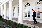 United States President Barack Obama walks on the Colonnade of the White House on his way to the Oval Office, February 12, 2013..Mandatory Credit: Pete Souza - White House via CNP
