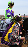 DEL MAR, CA - NOVEMBER 03: Javier Castellano is all smiles aboard Rushing Fall #11 after winning the Breeders' Cup Juvenile Fillies Turf race on Day 1 of the 2017 Breeders' Cup World Championships at Del Mar Thoroughbred Club on November 3, 2017 in Del Mar, California. (Photo by Bob Mayberger/Eclipse Sportswire/Breeders Cup)