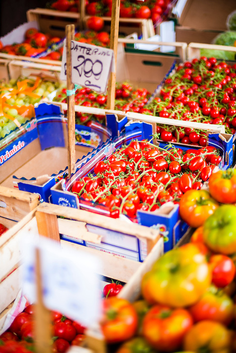 Palermo, tomatoes for sale at Capo Market, a fruit, vegetable and general food market in Palermo, Sicily, Italy, Europe. This is a photo of tomatoes for sale at Capo Market, a fruit, vegetable and general food market in Palermo, Sicily, Italy, Europe.