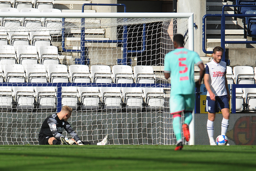 Preston North End's Connor Ripley looks dejected after Swansea City's Morgan Gibbs-White (not in picture) scores the opening goal <br /> <br /> Photographer Kevin Barnes/CameraSport<br /> <br /> The EFL Sky Bet Championship - Preston North End v Swansea City - Saturday September 12th 2020 - Deepdale - Preston<br /> <br /> World Copyright © 2020 CameraSport. All rights reserved. 43 Linden Ave. Countesthorpe. Leicester. England. LE8 5PG - Tel: +44 (0) 116 277 4147 - admin@camerasport.com - www.camerasport.com