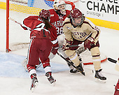 The Boston College Eagles defeated the visiting Harvard University Crimson 3-1 in their NCAA quarterfinal matchup on Saturday, March 16, 2013, at Kelley Rink in Conte Forum in Chestnut Hill, Massachusetts.