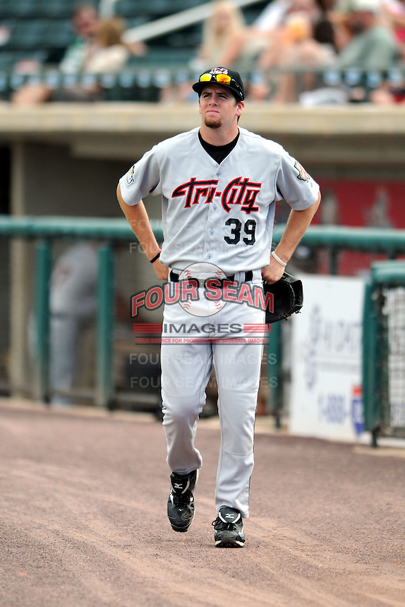 Tri-City Valley Cats pitcher Joe Bircher #39 prior to a game versus the Lowell Spinners at LeLacheur Park In Lowell, Massachusetts on July 1, 2012.   (Ken Babbitt/Four Seam Images)