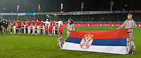 20151130 - LEUVEN ,  BELGIUM : Serbian team  pictured during the female soccer game between the Belgian Red Flames and Serbia , the third game in the qualification for the European Championship in The Netherlands 2017  , Monday 30 November 2015 at Stadion Den Dreef  in Leuven , Belgium. PHOTO DIRK VUYLSTEKE
