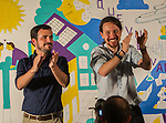 Pablo Iglesias and Alberto Garzon during the start of the electoral campaign of Unidos Podemos, with the traditional putting up electoral posters. Jun 09,2016. (ALTERPHOTOS/Rodrigo Jimenez)