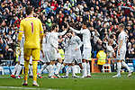 Real Madrid´s players celebrate a goal during 2015/16 La Liga match between Real Madrid and Sporting de Gijon at Santiago Bernabeu stadium in Madrid, Spain. January 17, 2015. (ALTERPHOTOS/Victor Blanco)