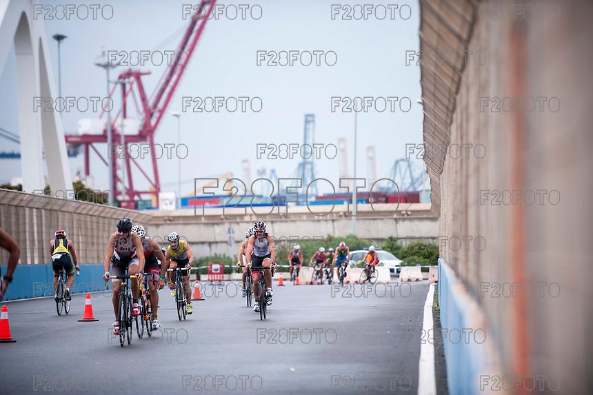 VALENCIA, SPAIN - SEPTEMBER 6: Athlete during Valencia Triathlon 2015 at port of Valencia on September 6, 2015 in Valencia, Spain