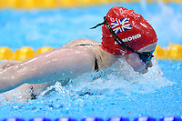 PICTURE BY ALEX BROADWAY /SWPIX.COM - 2012 London Paralympic Games - Day Three - Swimming - Aquatic Centre, Olympic Park, London, England - 01/09/12 - Gemma Almond of Great Britain competes in the Women's 100m Butterfly S10 Heats.
