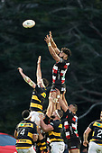 Daymon Leasuasu gets above Mitch Brown to secure the ball at a lineout for the Steelers. Mitre 10 Cup rugby game between Counties Manukau Steelers and Taranaki Bulls, played at Navigation Homes Stadium, Pukekohe on Saturday August 10th 2019. Taranaki won the game 34 - 29 after leading 29 - 19 at halftime.<br /> Photo by Richard Spranger.