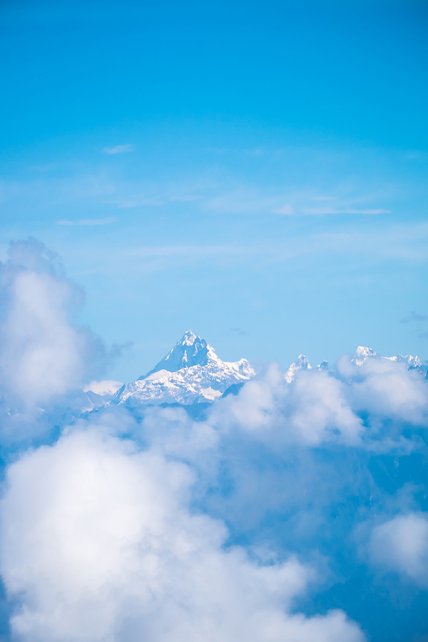 DOCHULA, BHUTAN - CIRCA October 2014: View of the Himalayas from the Dochula Pass in Bhutan