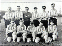 BNPS.co.uk (01202 558833)<br /> Pic: DickieBorthwick/BNPS<br /> <br /> Dickie Borthwick (front left) when he was playing for Sherborne Town the 1963 Dorset League Winners.<br /> <br /> An 81-year-old man believed to be 'Britain's oldest footballer' has today made an appeal for a club to sign him after failing to find a team to play for. <br /> <br /> Sprightly Dickie Borthwick had played every season since the 1940s but has now been sidelined due to a worrying lack of interest in veteran football. <br /> <br /> The left midfielder says despite dwindling opportunities for older players he isn't hanging up his boots just yet. <br /> <br /> Dickie, who thinks he has scored aout 400 goals and has never been booked in a 1,600 match career, would like to play once every two weeks.