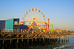 A view of the Santa Monica Pier ferris wheel in Santa Monica ,California,USA. A place of fun and enjoyment for tourists and local people as well.
