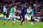 UEFA Champions League 2017/2018 - Matchday 6.<br /> FC Barcelona vs Sporting Clube de Portugal: 2-0.<br /> Alan Ruiz, Nelson Semedo &amp; Marcos Acu&ntilde;a.