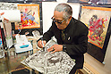 Horiyoshi tattoo signs a poster during the first day of his exhibition of drawings in Harajuku gallery. Japanese tatoo artist Horiyoshi III (born Yoshihito Nakano) opened an exhibition of his art in Harajuku on October 14, 2015 in Tokyo, Japan. Horiyoshi III is renowned for his Irezumi, full body suit tattoos, and has carried the honorific title of Horiyoshi III since 1971. (Photo by Martin Hladik/AFLO)