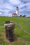 Cape Blanco State Park, Oregon<br /> Cape Blanco Light (1870) on a Pacific coast meadow