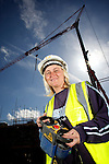 Pix: Shaun Flannery/shaunflanneryphotography.com..COPYRIGHT PICTURE>>SHAUN FLANNERY>01302-570814>>07778315553>>..26th April 2010............Bramall Construction..Tower Crane Driver Debbie Showell at work on the company's site in Hoyland, South Yorkshire.