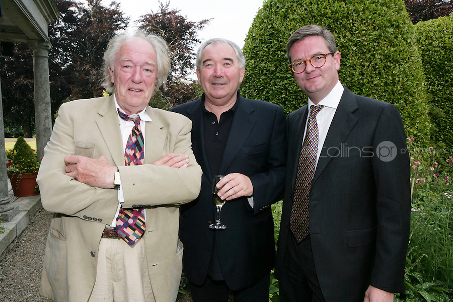 22/6/10 Michael Gambon, Harry Crosbie and Ambassador Julian King at the British Amabassador's residence at Glencairn House in Sandyford, Dublin. Arthur Carron/Collins