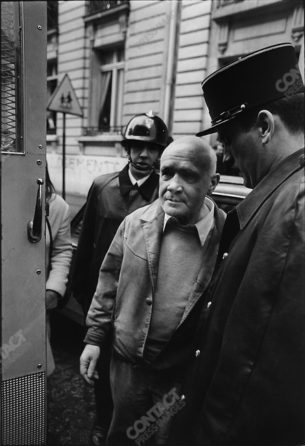 Jean Genet is arrested during demonstrations in front of headquarters of French Employers' Union (CNPF), Paris, France, January 10, 1970