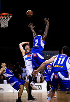 Damon Heuir (Giants) and LJ Peak (Saints) in action during the national basketball league match between Wellington Saints and Nelson Giants at TSB Bank Arena in Wellington, New Zealand on Thursday, 26 July 2018. Photo: Dave Lintott / lintottphoto.co.nz