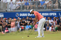 Matthieu Pavon (FRA) putts on the 18th green during Sunday's Final Round of the 2018 Dubai Duty Free Irish Open, held at Ballyliffin Golf Club, Ireland. 8th July 2018.<br /> Picture: Eoin Clarke | Golffile<br /> <br /> <br /> All photos usage must carry mandatory copyright credit (&copy; Golffile | Eoin Clarke)
