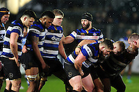 Guy Mercer of Bath Rugby rallies his forwards at a scrum. Anglo-Welsh Cup match, between Bath Rugby and Gloucester Rugby on January 27, 2017 at the Recreation Ground in Bath, England. Photo by: Patrick Khachfe / Onside Images