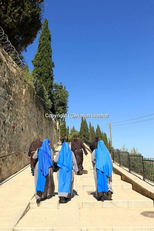 "Israel, Ein Karem, the ""Visitation Stairs"", the ascent from Mary's Well to the Church of the Visitation"
