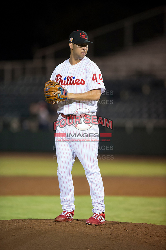 Scottsdale Scorpions relief pitcher Luke Leftwich (44), of the Philadelphia Phillies organization, gets ready to deliver a pitch during an Arizona Fall League game against the Mesa Solar Sox on October 9, 2018 at Scottsdale Stadium in Scottsdale, Arizona. The Solar Sox defeated the Scorpions 4-3. (Zachary Lucy/Four Seam Images)