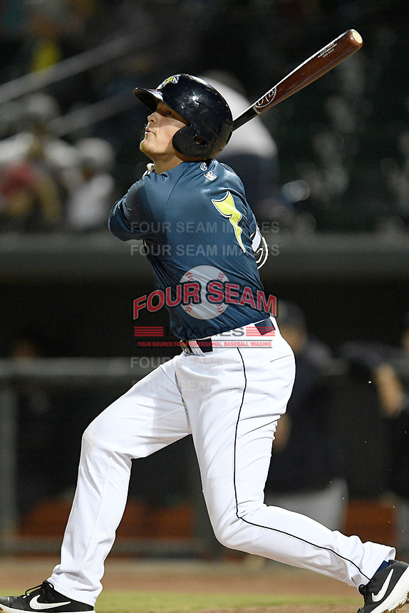 First baseman Brian Sharp (7) of the Columbia Fireflies bats in a game against the Charleston RiverDogs on Friday, April 5, 2019, at Segra Park in Columbia, South Carolina. Charleston won, 6-1. (Tom Priddy/Four Seam Images)