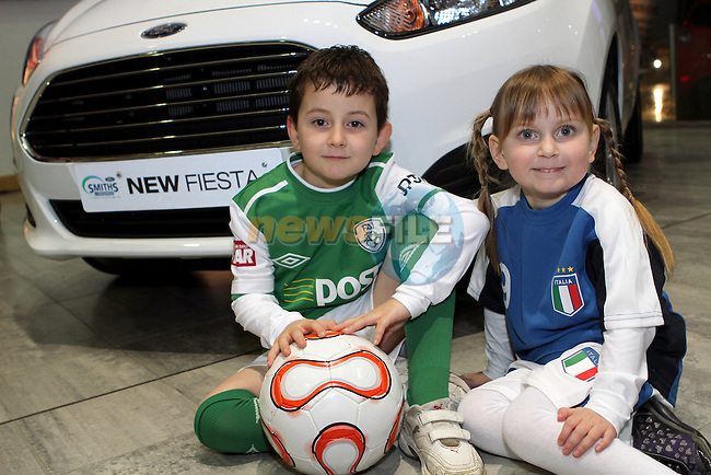 Anastasia and Alessio Palombo at the Launch of the Monster Car Draw in aid of the Gary Kelly Centre at Smiths Garage....Photo NEWSFILE/Jenny Matthews.