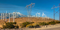 Palm Springs, CA,  San Gorgonio Pass, Whitewater, Wind Farm, High Power, Transmission, Lines, Towers, Spinning Turbines, clean, energy, Panorama