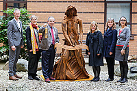 Pictured: (L-R) Martin Thomas ABMU Heritage Lead, Phil Thimbleby, Arts Health co-ordinator, Andrew davies ABMU Chairman, artist Sarah Tombs, Fiona Edwards and Heather Parnell, both ABMU Arts and Health team. Monday 05 February 2018<br /> Re: A sculpture has been unveiled at Welsh Centre for Burns and Plastic Surgery in Morriston Hospital to commemorate its links with Port Talbot steelworks in Wales, UK.<br /> It was inspired by Welsh mythology and created from Tata steel by artist Sarah Tombs.<br /> The sculpture is of the legendary Lady of Llyn y Fan Fach and was unveiled by Abertawe Bro Morgannwg health board to mark the 70th birthday of the NHS.<br /> According to the Mabinogion and The Red Book of Hergest, she was mother of the Physicians of Myddfai, who used magical powers to heal the sick and symbolises &quot;regeneration and healing&quot;.