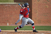Bryan Haberstroh (7) of the NJIT Highlanders follows through on his swing against the High Point Panthers at Williard Stadium on February 18, 2017 in High Point, North Carolina. The Panthers defeated the Highlanders 11-0 in game one of a double-header. (Brian Westerholt/Four Seam Images)