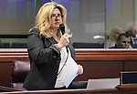 Nevada Assemblywoman Michele Fiore, R-Las Vegas, speaks in support of a bill that would expand and clarify Nevada's justifiable homicide law during discussion on the Assembly floor at the Legislative Building in Carson City, Nev., on Friday, May 22, 2015. The Assembly approved the measure 25-17. <br /> Photo by Cathleen Allison