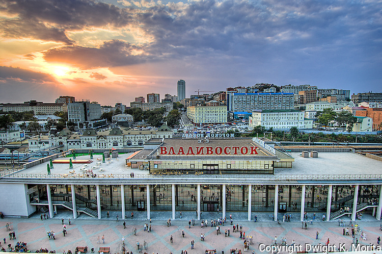 Sunsset view of the terminal building for cruise ships at Vladivostok, Russia